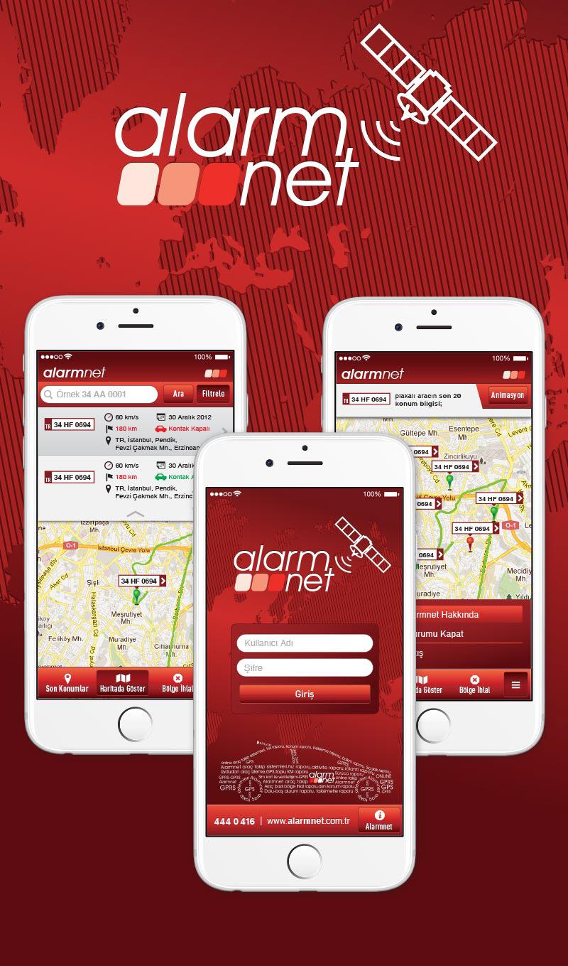 iPhone iOS concept design vehicle tracking Alarmnet araç takip gps