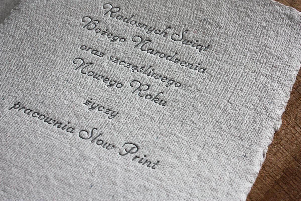 letterpress christmascard cotton slowprint SantaClaus