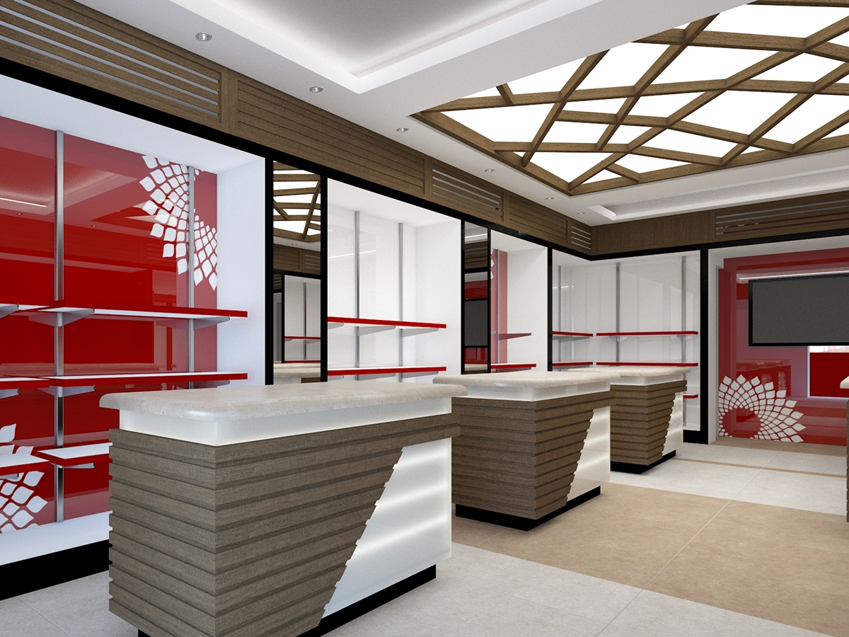 Proposed Interior Display Of A Textile Showroom