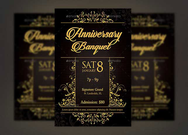golden anniversary banquet flyer template on behance