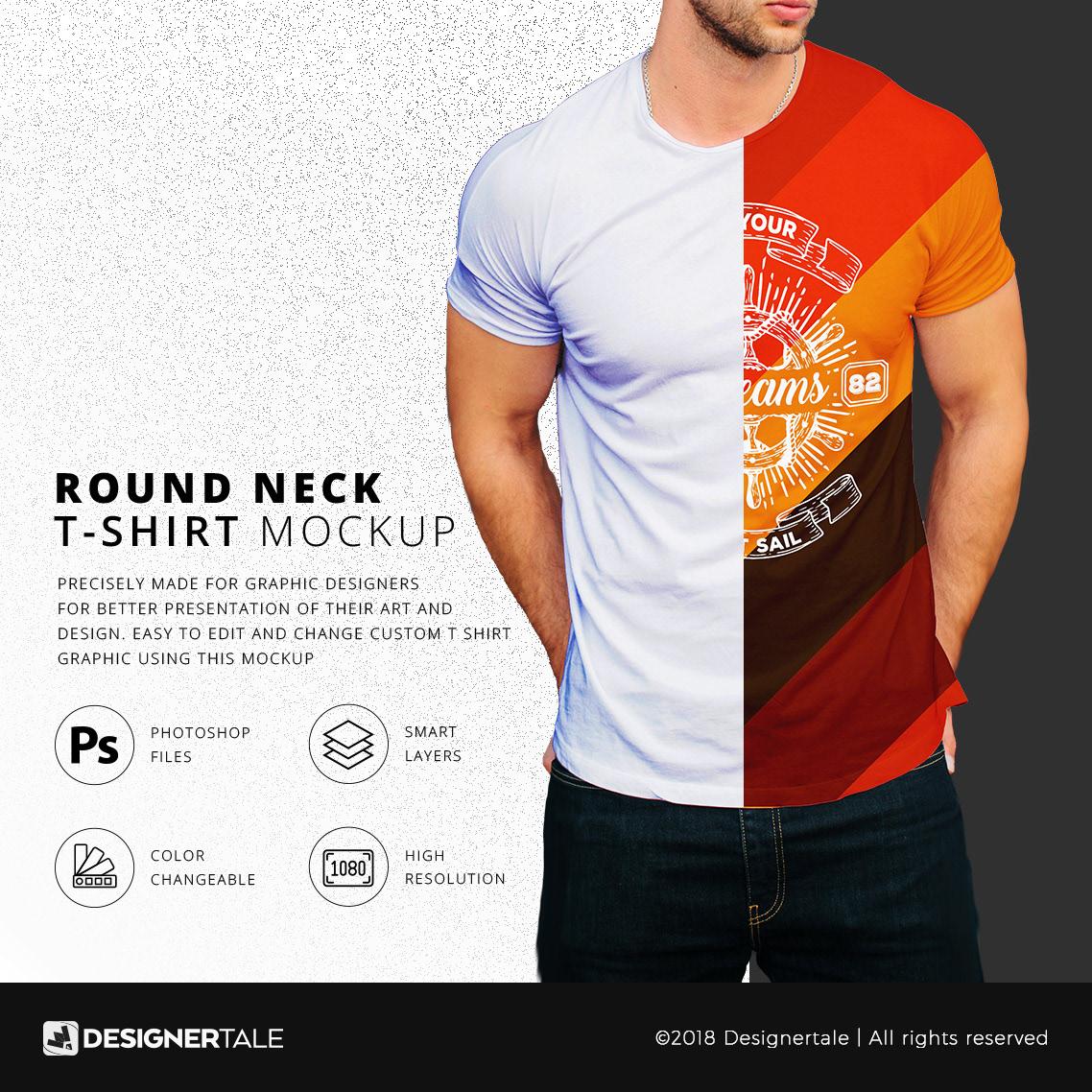 Round Neck Men T Shirt Mock Up Free Psd Template On Behance