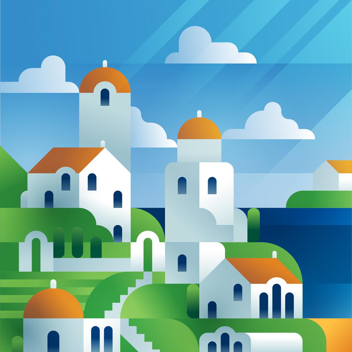 clouds flat colors gradient colors ILLUSTRATION  Island Landscape portrait sea SKY village