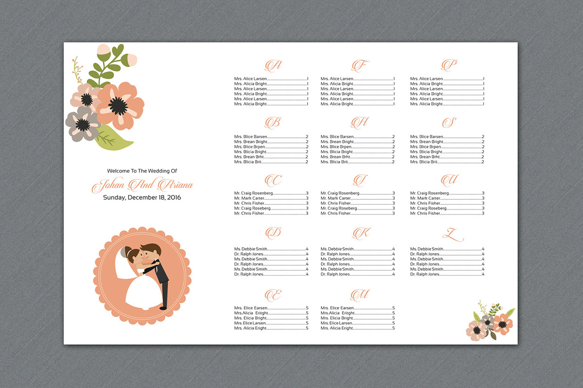wedding seating chart template on behance. Black Bedroom Furniture Sets. Home Design Ideas
