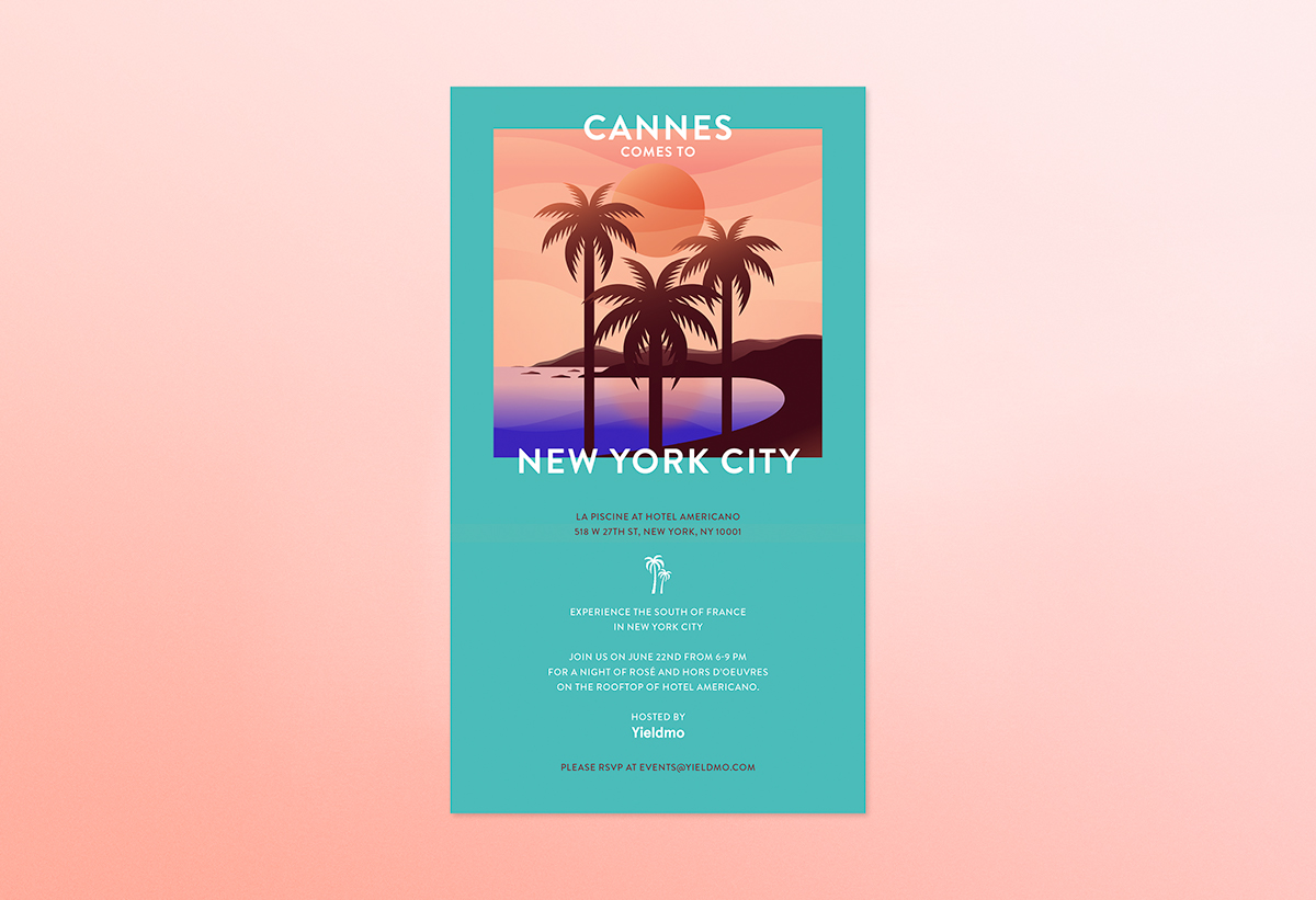 Cannes nyc yieldmo Ad-Tech start up sunset pink france Tropical beach Poster Design colors gradients 1920s shoreline