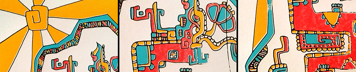 silkscreen serigrafia calendario poster cartel calendar ink Maya aztec inca