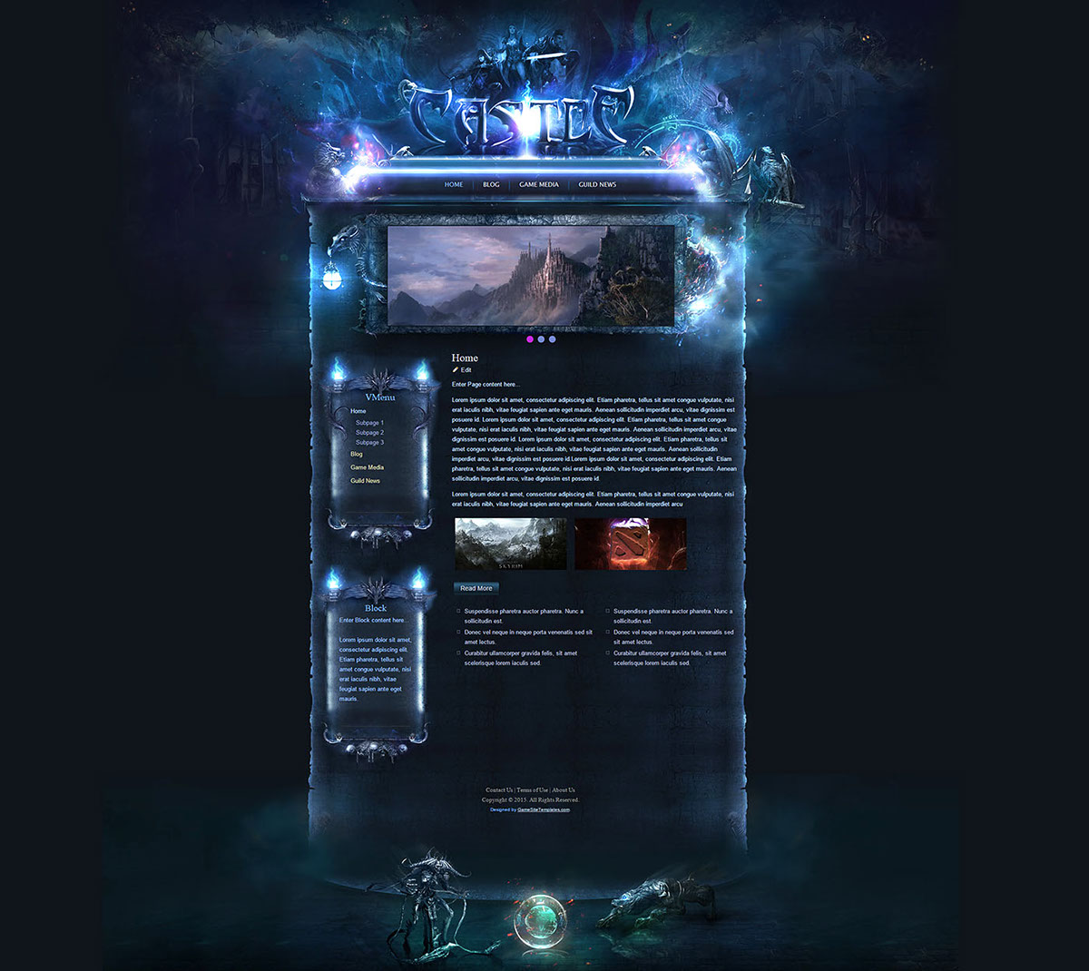 Templates Are Available Here Castle Game Photoshop Template Wordpress PhpBB Skin