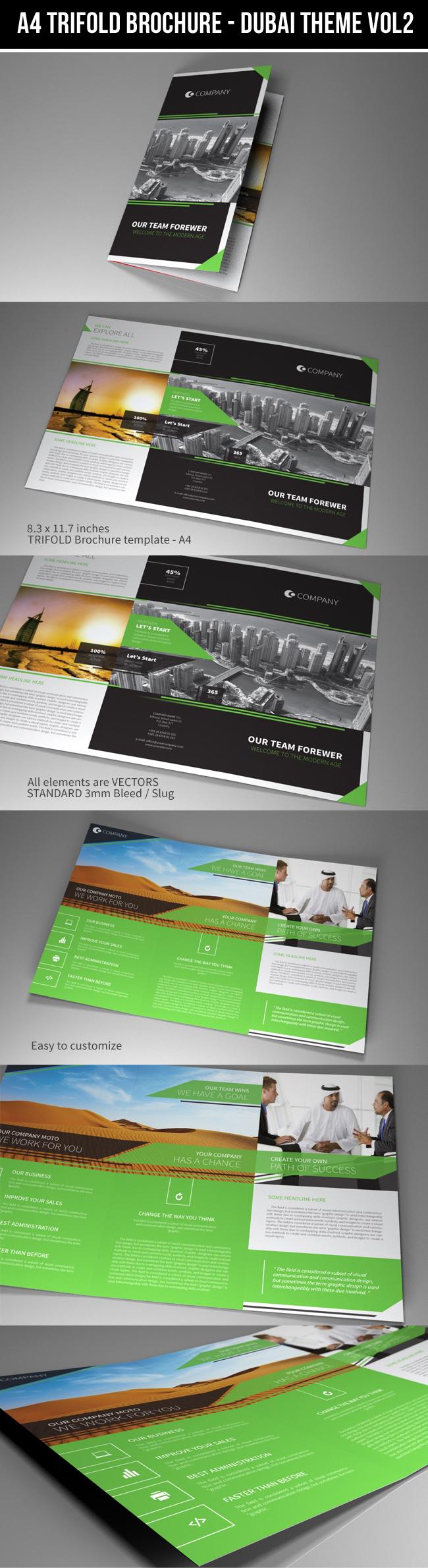 indesign template a4 trifold brochure dubai vol2 on behance. Black Bedroom Furniture Sets. Home Design Ideas