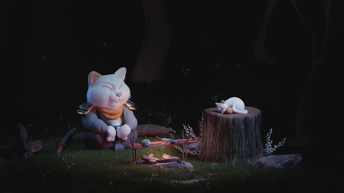 3D Cat Character cinematic composition design mood styleframe