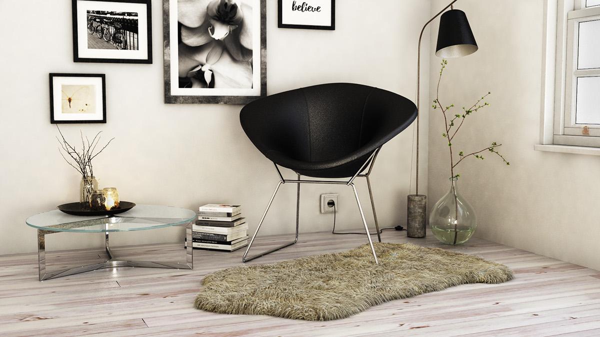 vray photoshop Interior chair black White hair Fur corner 3D 3dmax Render judith gonzalez visualizer