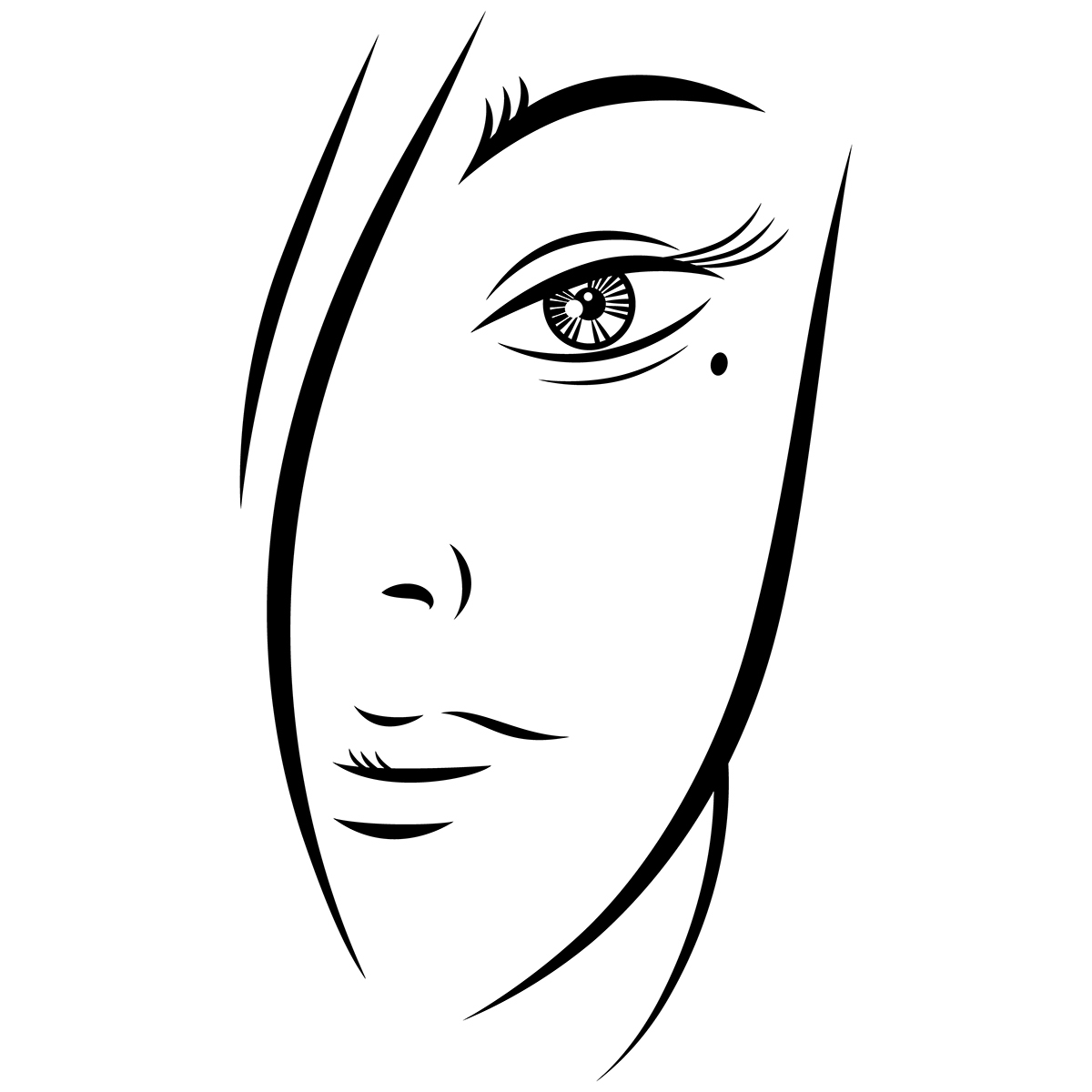 FREE EPS Beautiful Young Woman Face Black Ink Sketch on Behance