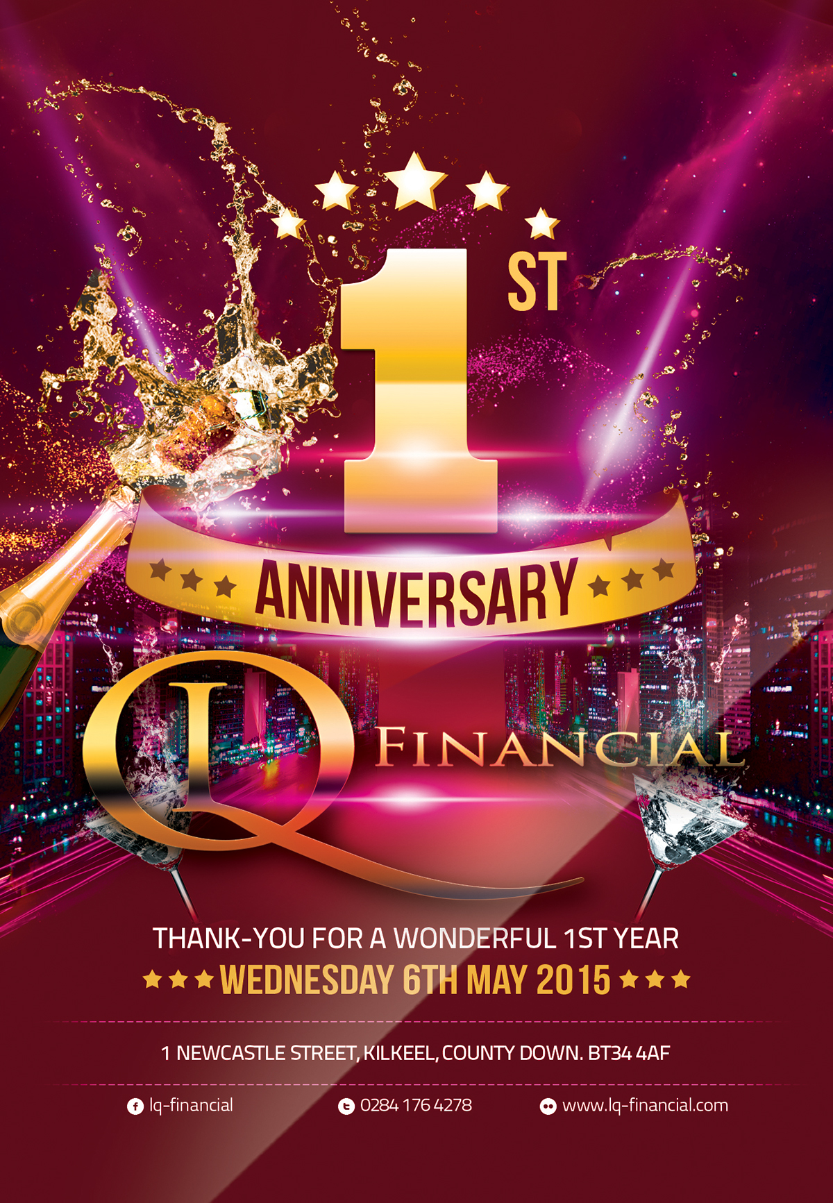 LQ Financial 1st Anniversary Flyer on Behance
