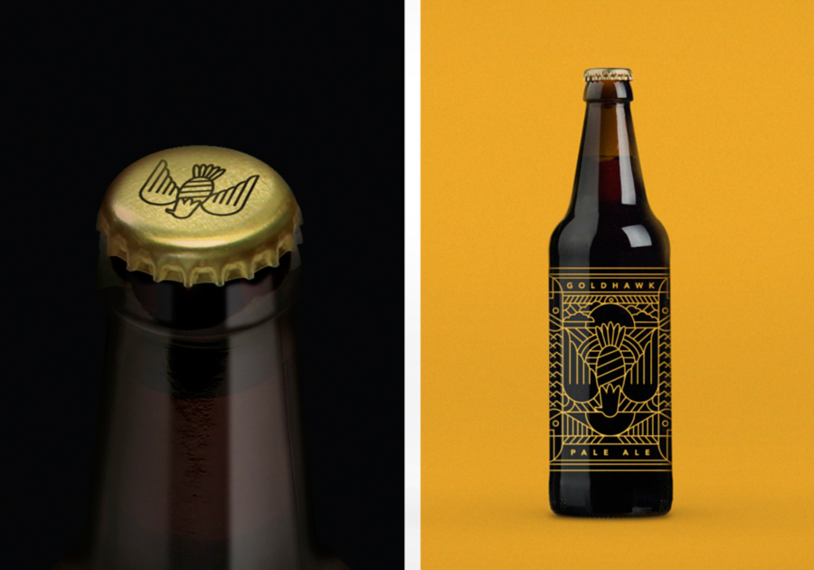 Goldhawk Ale beer identity and packaging by Don't Try Studio
