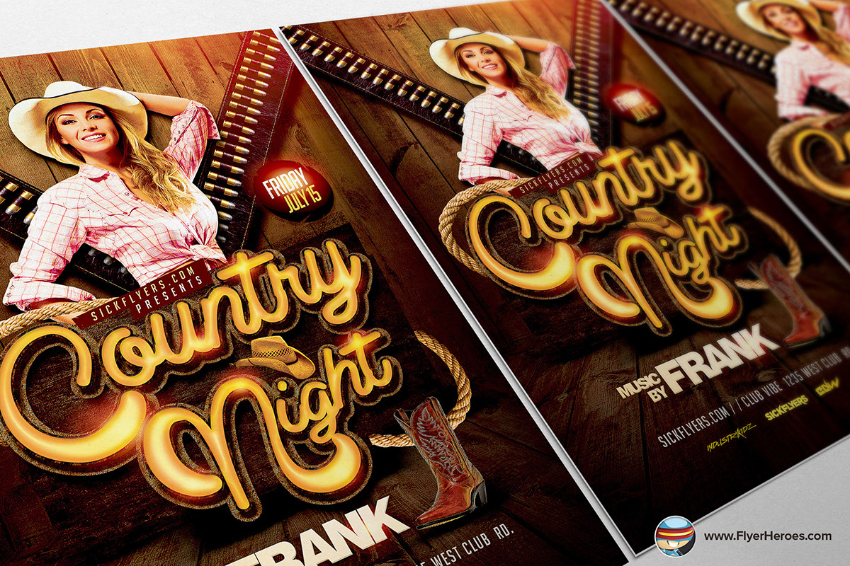 Country night western flyer template on behance for Flyerheroes free
