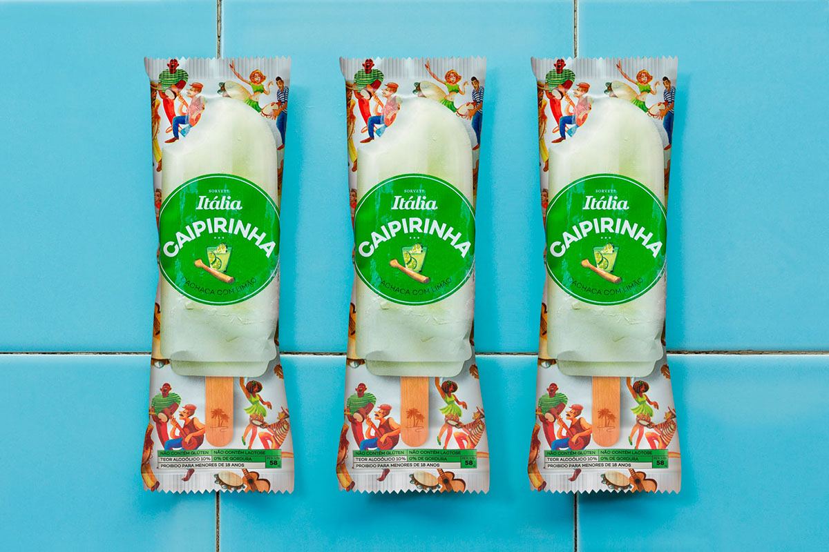 packaging design graphic design  ice cream bar Tropical alcoholic ice cream caipirinha watercolor food and beverage Popsicles