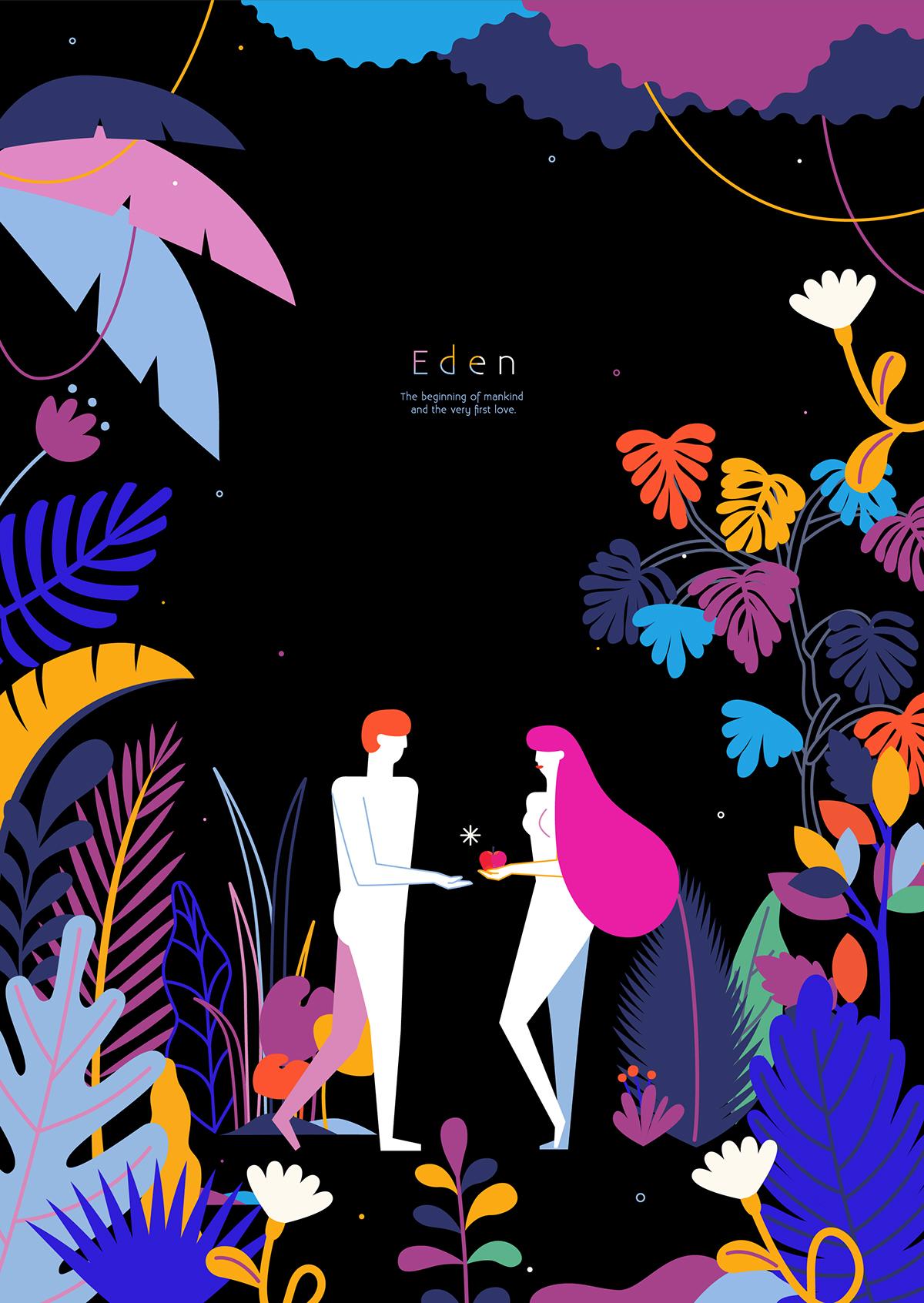 eden Adam Eve colorful jungle Plant foliage neon vivid animal flower