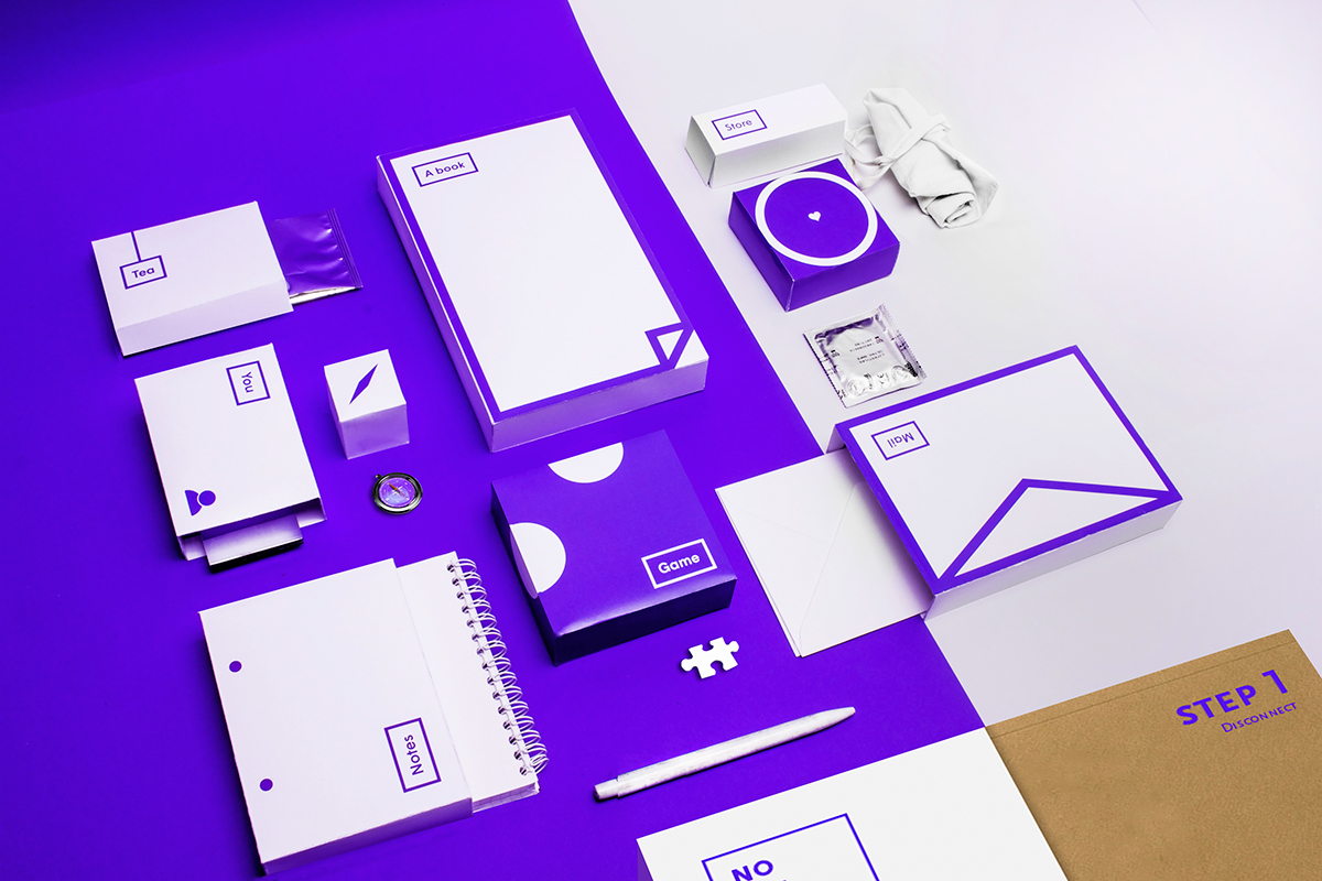 no wifi survival kit Pack box graphic design mome RECYCLED paper foil brand research nerd