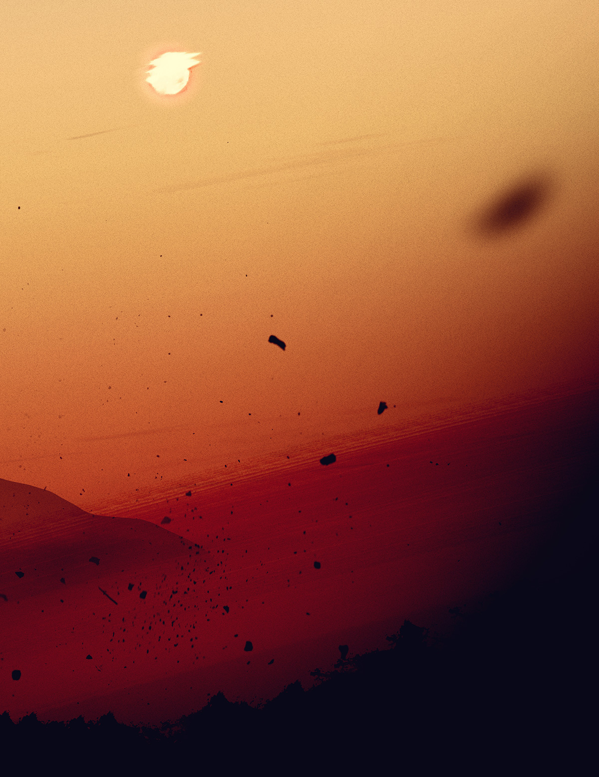 storm desert Sun DISTORTED dust rest Silhouette redshift distortion Landscape noise mountains contrast