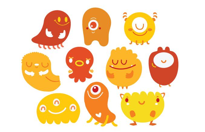 monsters children vector Logotype shop costarica