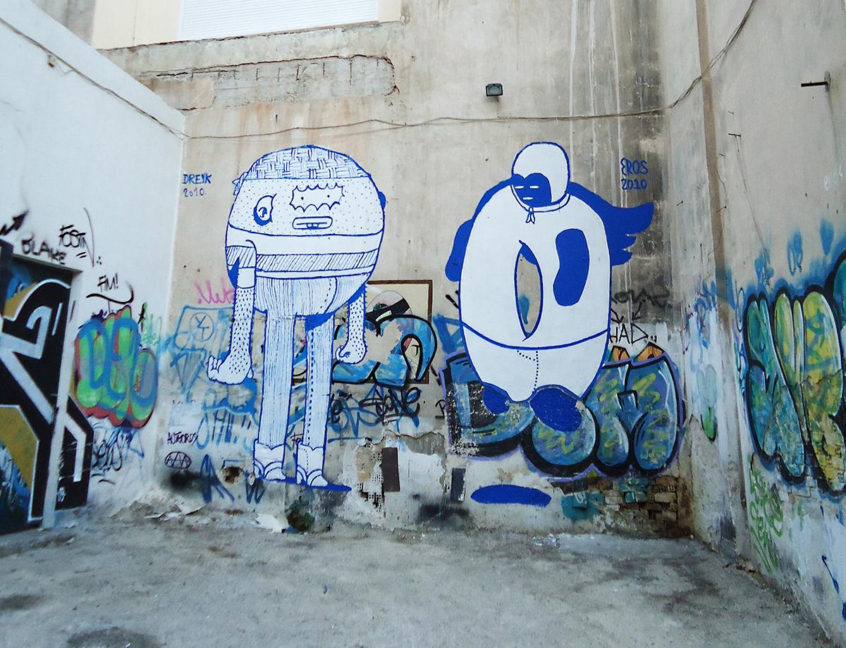 blue Character Greece greek Sailor Street Art  White
