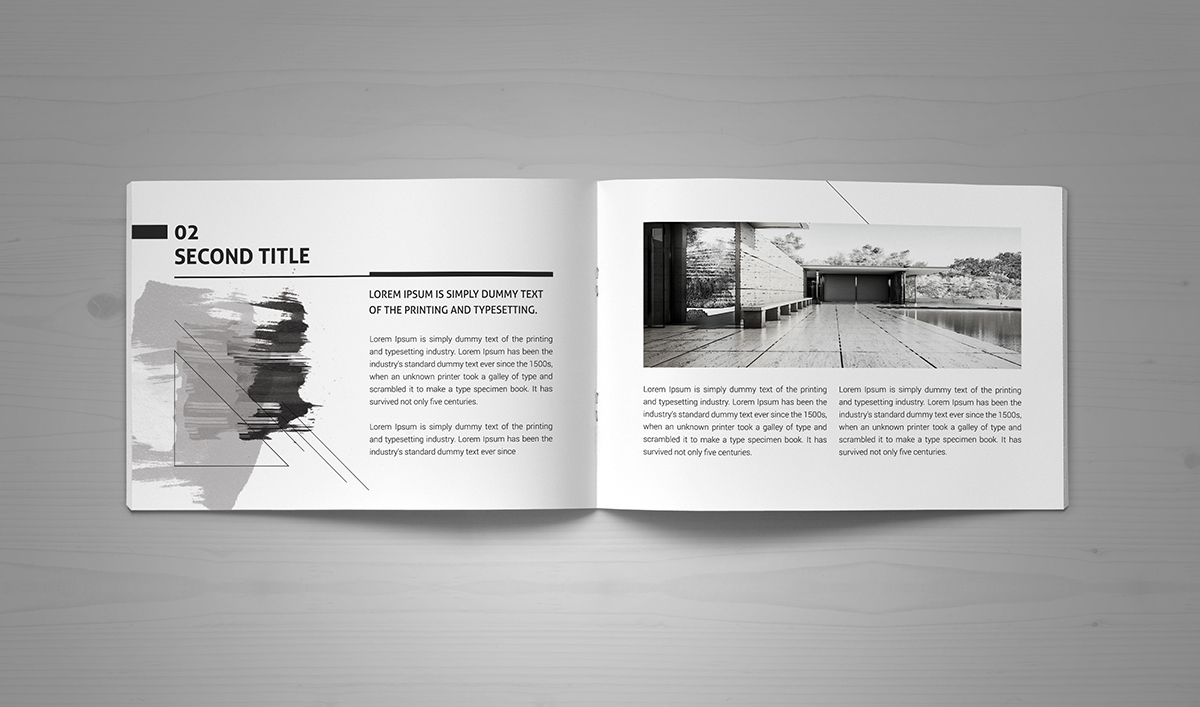 minimal modern black white architecture brochure on behance