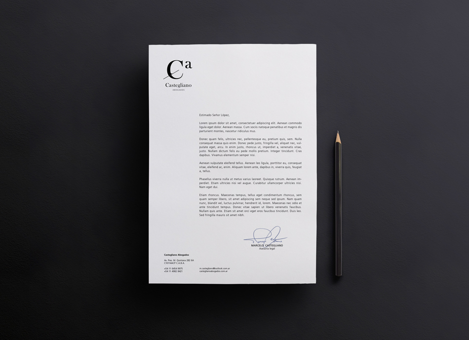 castegliano abogados identidad brand logo minimal black and white gold clean White simple type business card paper