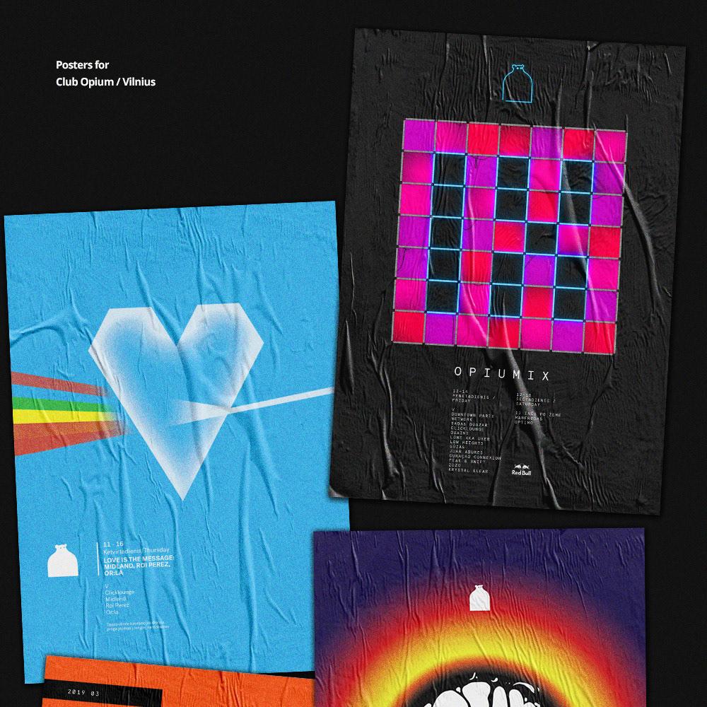 night club club posters flyers print techno house minimal future opium