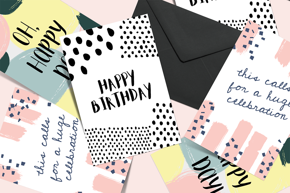 greeting card template set on student show