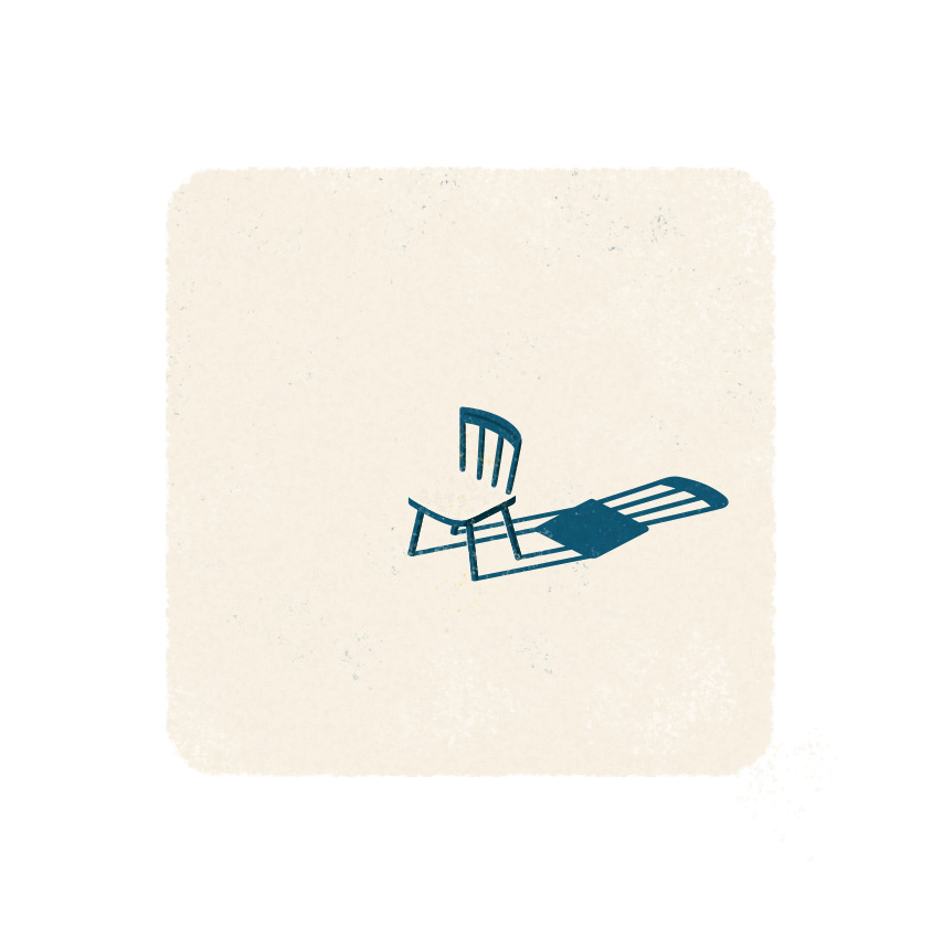Illustration showing an empty chair with a long shadow.