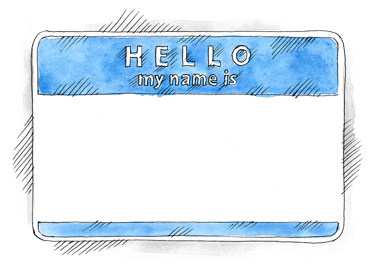 Hello My Name Is: Free EPS+PSD Watercolor Blue Name Tag Hello My Name Is On
