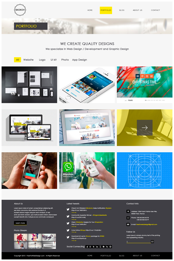 skokov free corporate web design template psd on behance