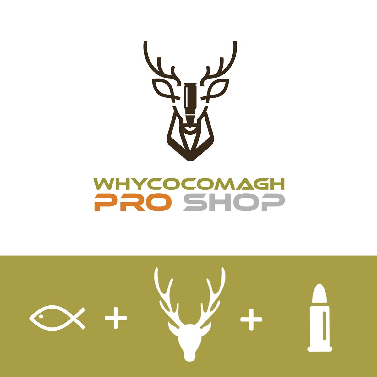 Hunting fishing logo pro shop deer fish Ammo
