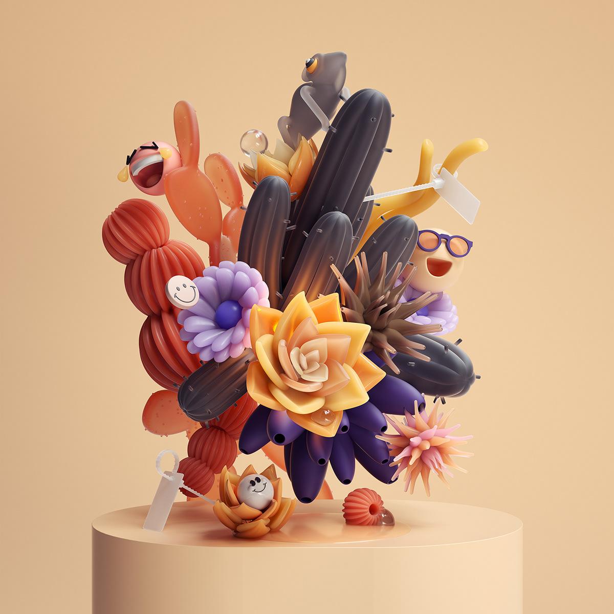 3D abstract cinema 4d composition design Digital Art  ILLUSTRATION  inspiration modern Octane Render