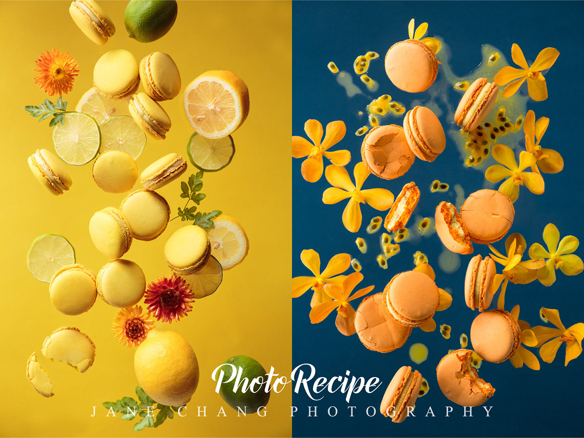 floating dessert macaron Food  food photography food stylist art Dynamic Flowers stop motion