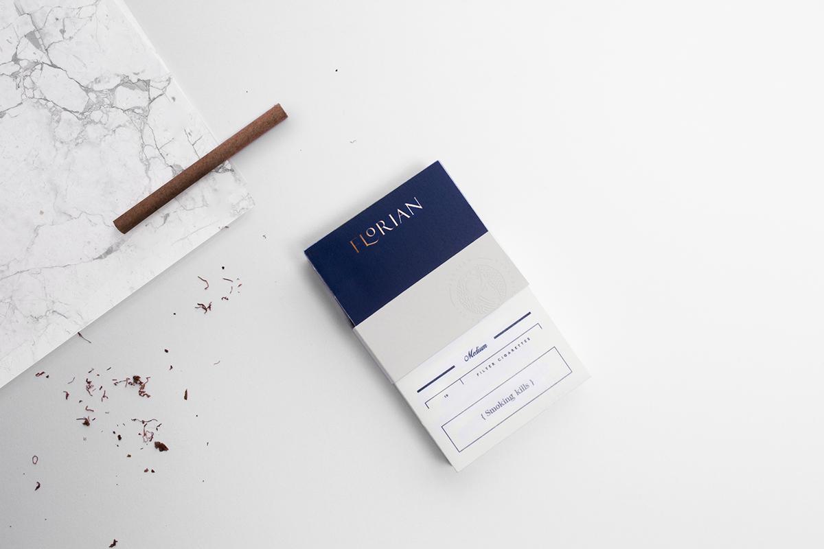 florian budapest cigarette cigar gold badge Pack box embossed logo Web design package historical premium
