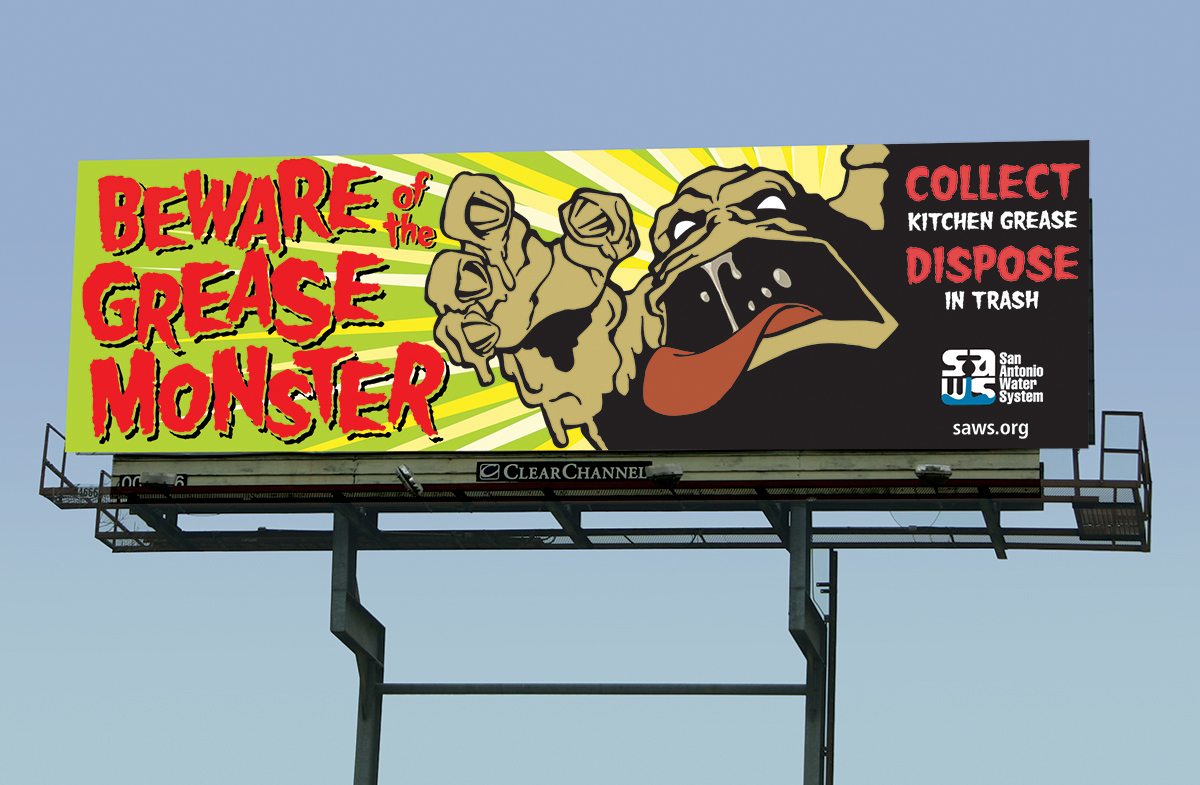 San Antonio Water System Grease Monster Campaign on Behance