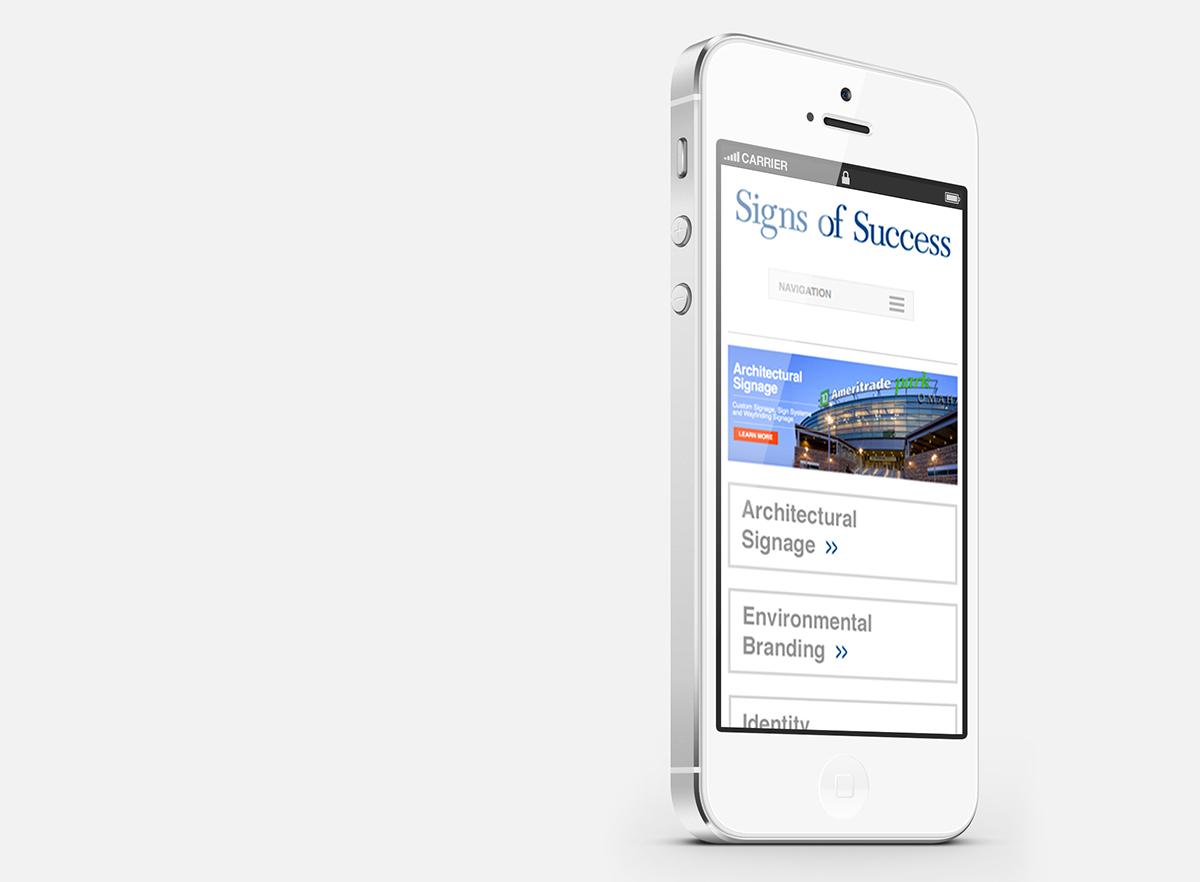 Mobile website design for Signs of Success
