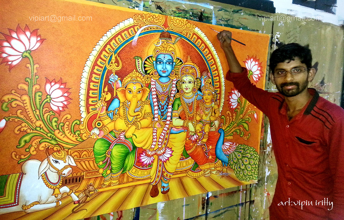 Mural and oil paintings by vipin iritty on behance for Mural kerala