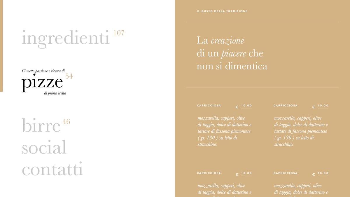 Pizza gourmet site design UI/UX user experience Italy Food