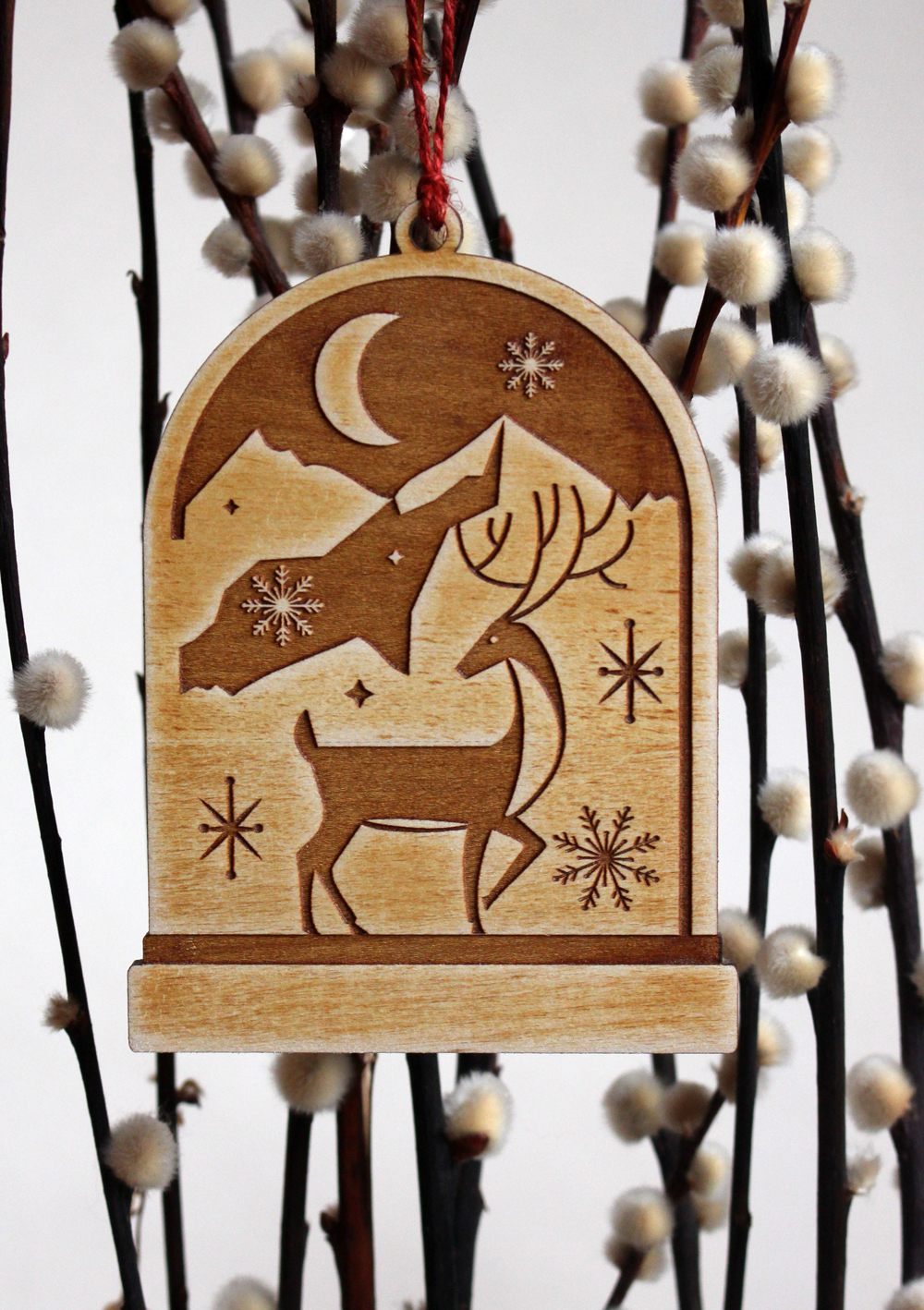 illustrated laser cut wooden christmas tree ornaments on behance - Wooden Laser Cut Christmas Decorations