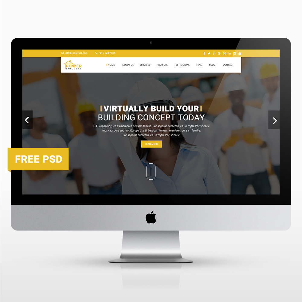 free free template 2016 free psd freebie Free Template agency construction One Page corporate Webdesign Web Template UI ux clean Mordern
