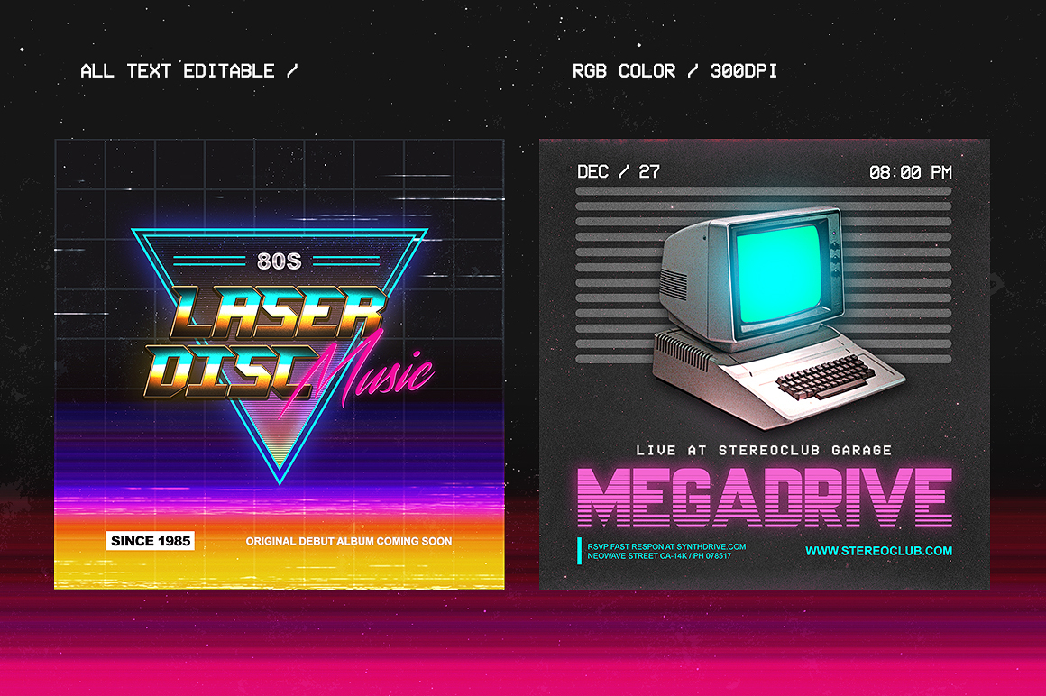 80's Synthwave Photoshop Templates on Behance