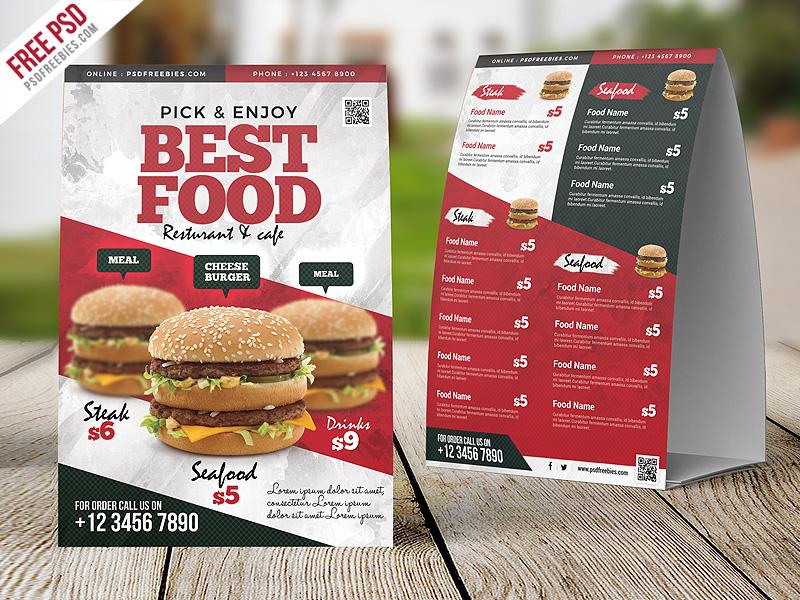 restaurant food menu table tent card psd on behance. Black Bedroom Furniture Sets. Home Design Ideas