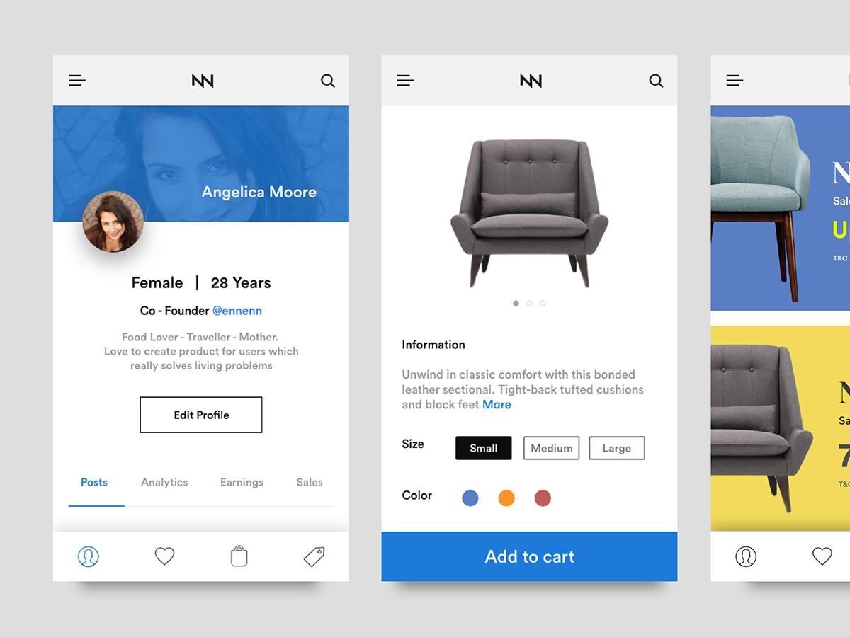 Online Furniture Shopping App Ui Kit Ios On Pantone