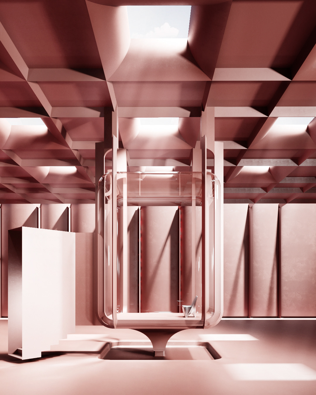 3dart CGI chair design dreamy Interior pink product surreal visualisation
