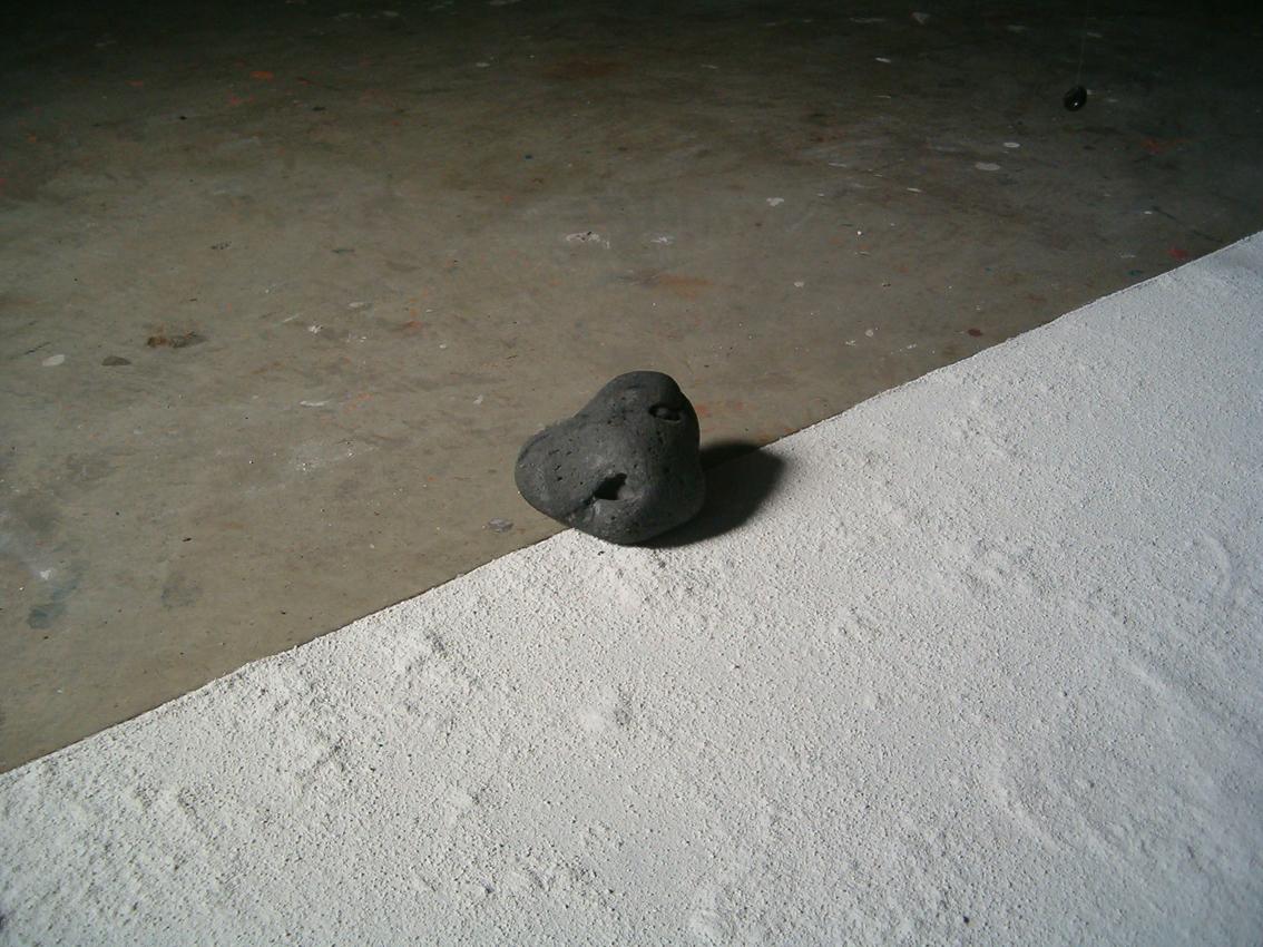stone minimal installation black & white