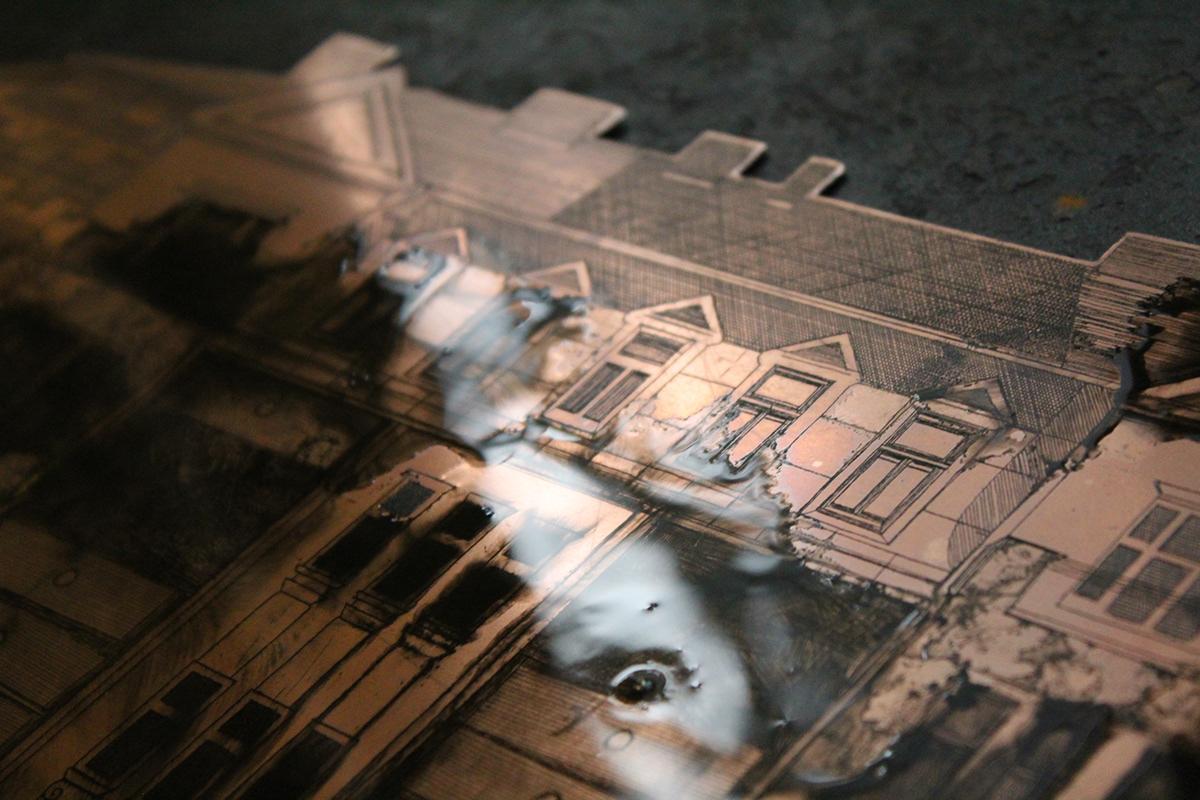 architecture etching intaglio printmaking TRADITIONAL ART Drawing  fine art print Urban
