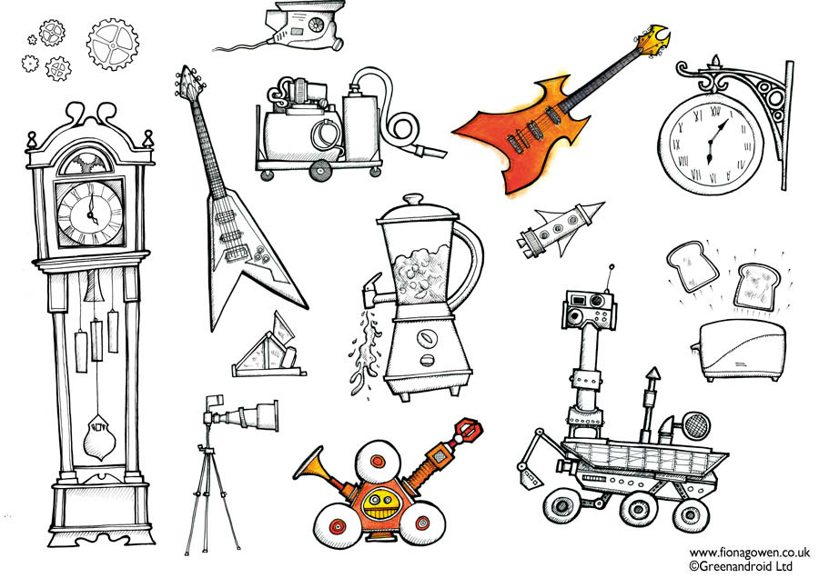 A selection of illustrations from Childrens art books How to Draw Machines illustrated by Fiona Gowen. Featured illustrations include clocks, robots, spaceships, appliances and tools