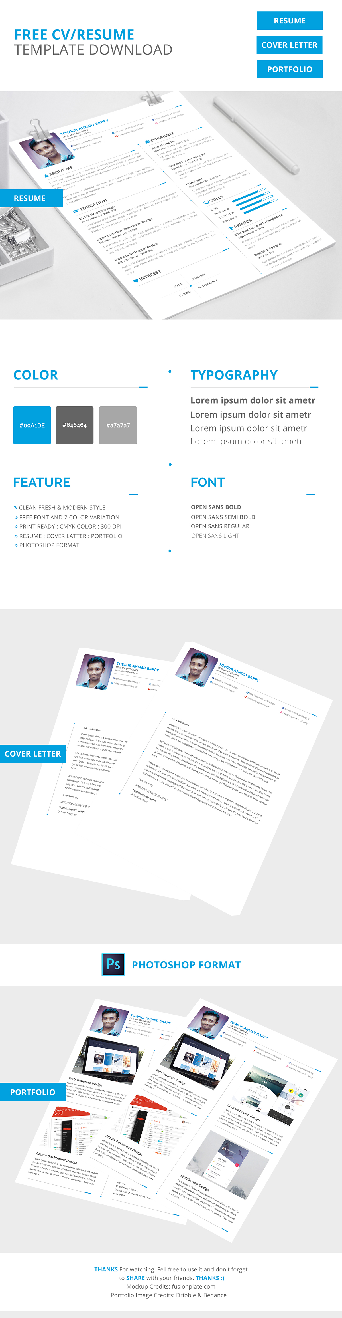 Free Creative Resume/ Cv Template Download On Behance