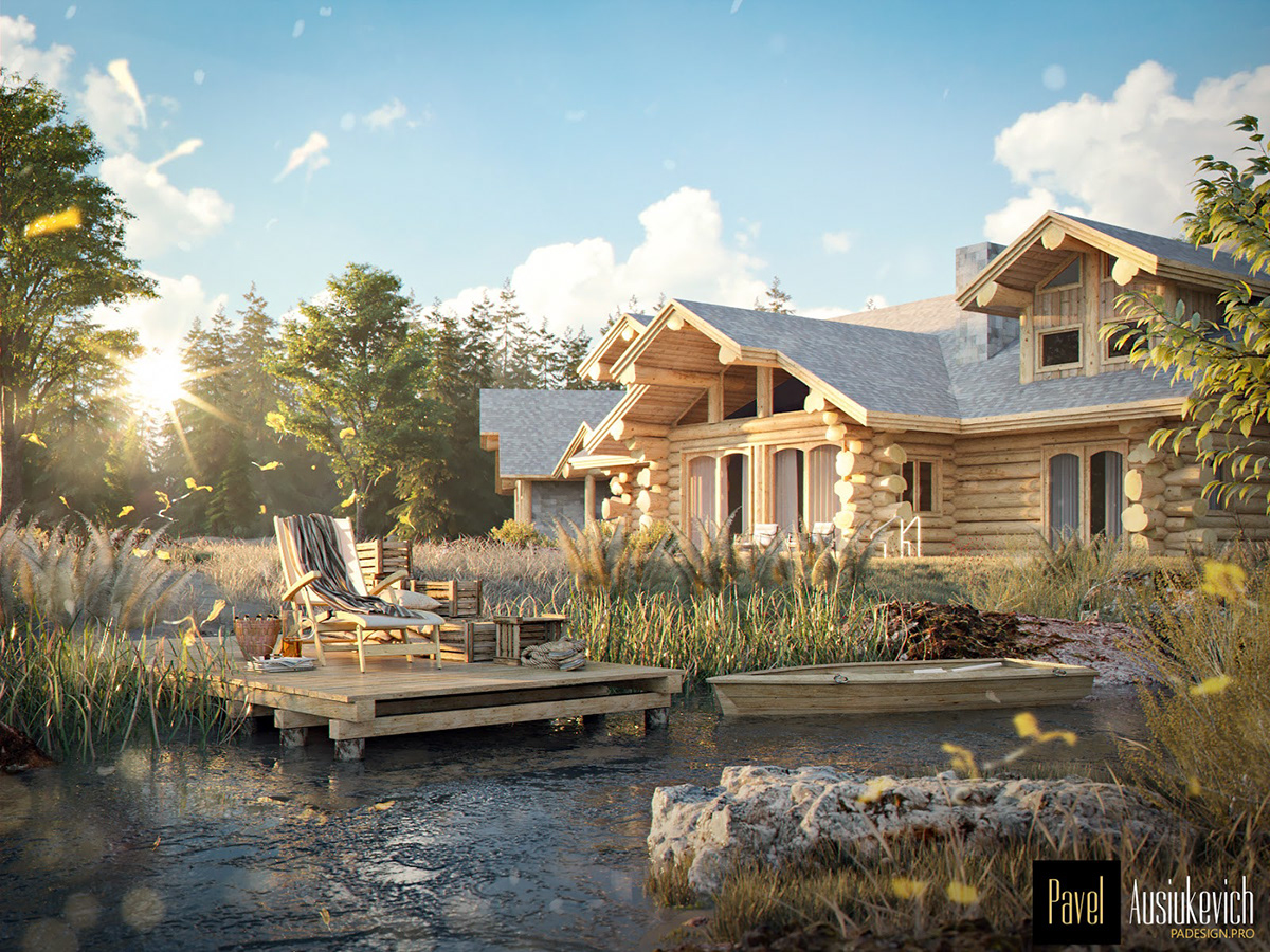 architecture corona render  Log house 3D Visualization private house Project 3D