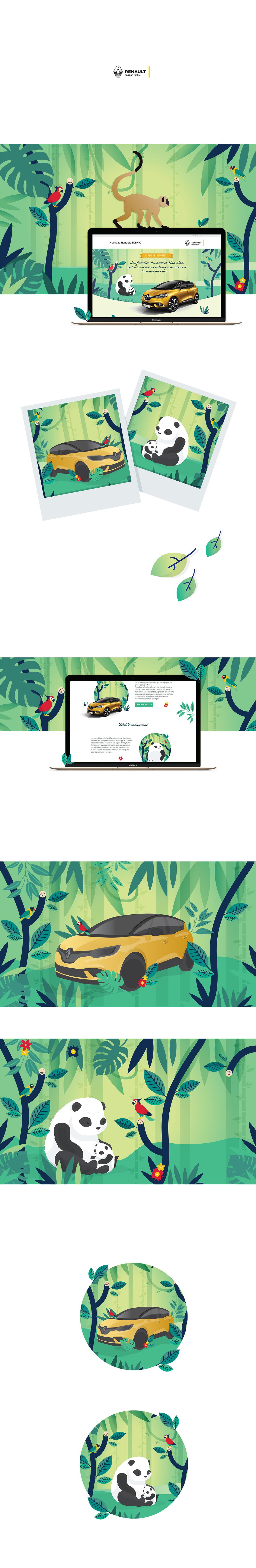 Illustrator,salomé gautier,renault,car,design,Panda ,animals,jungle